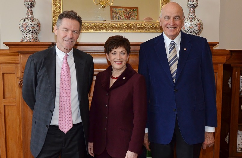 Image of High Commissioner of Australia, Peter Woolcott with Dame Patsy Reddy and Sir David Gascoigne
