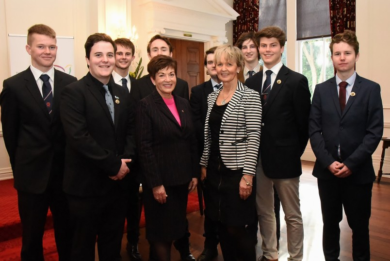 Dame Patsy with students from Lindisfarne College