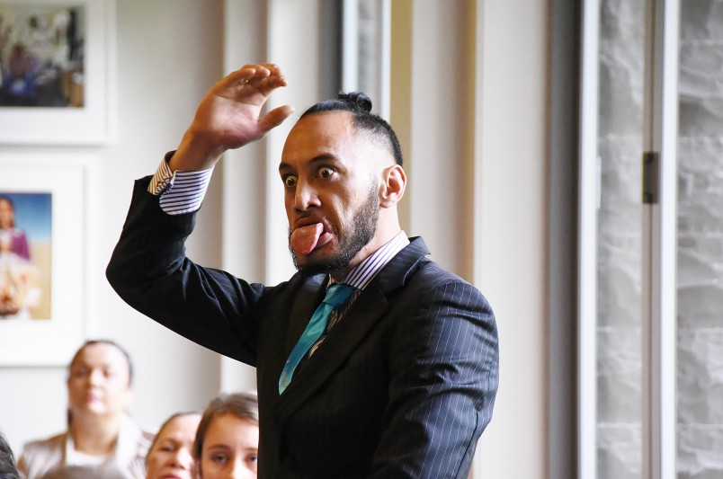 Image of a guest doing a haka for Marara Te Tai Hook at Auckland investitures
