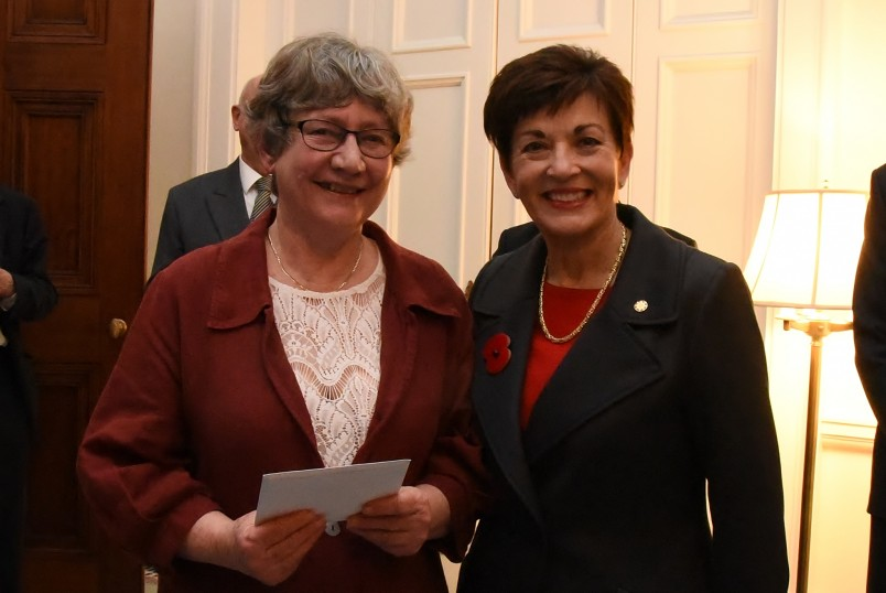 An image of Dame Paty with Mrs Rosemary Scott, judge of the essay-writing competition