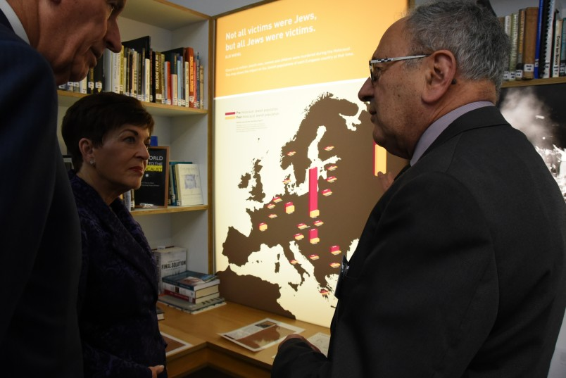 An image of Dame Patsy, Sir David and Steven Sedley with a map of Jewish populations in Europe