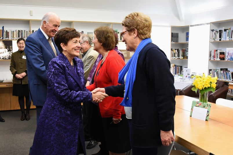 An image of Dame Patsy meeting volunteers at the Holocaust Centre