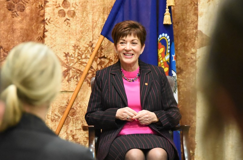 Image of Dame Patsy Reddy speaking at the Auckland Women in Law forum