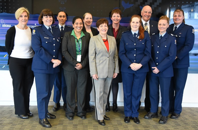 Image of Dame Patsy, Sir David and representatives of the Counties Manukau police team