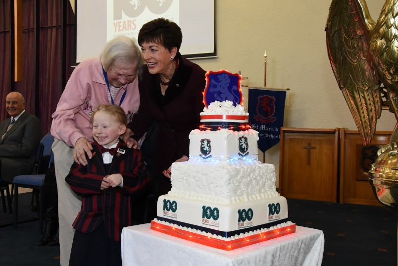 an image of Dame Patsy, oldest alumni Joyce Montgomery and the youngest St Mark's student