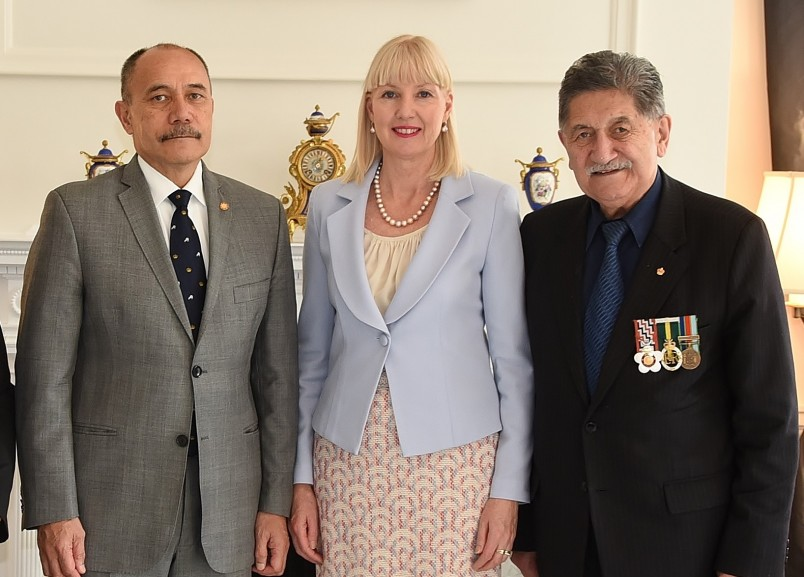 Image of Sir Jerry, Lady Janine and Lewis Moeau at Government House