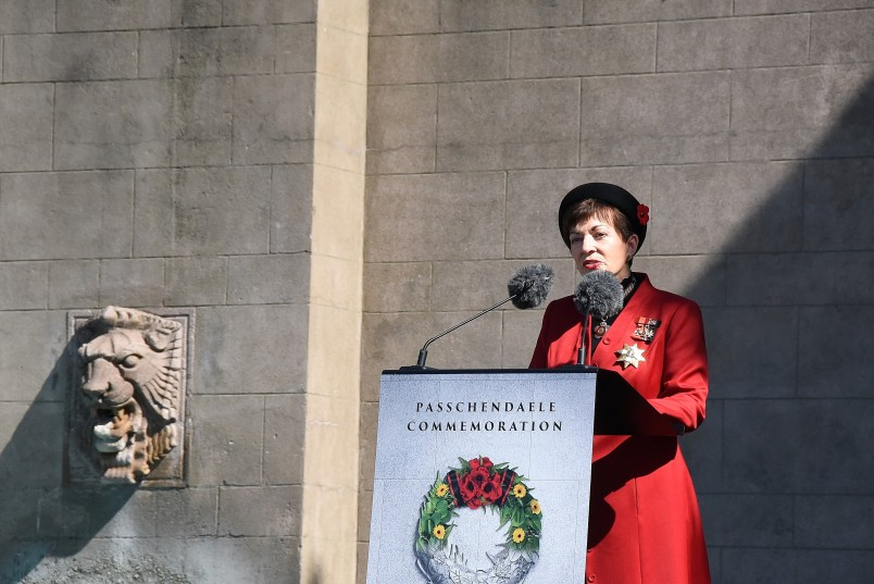 an image of Dame Patsy delivering her address