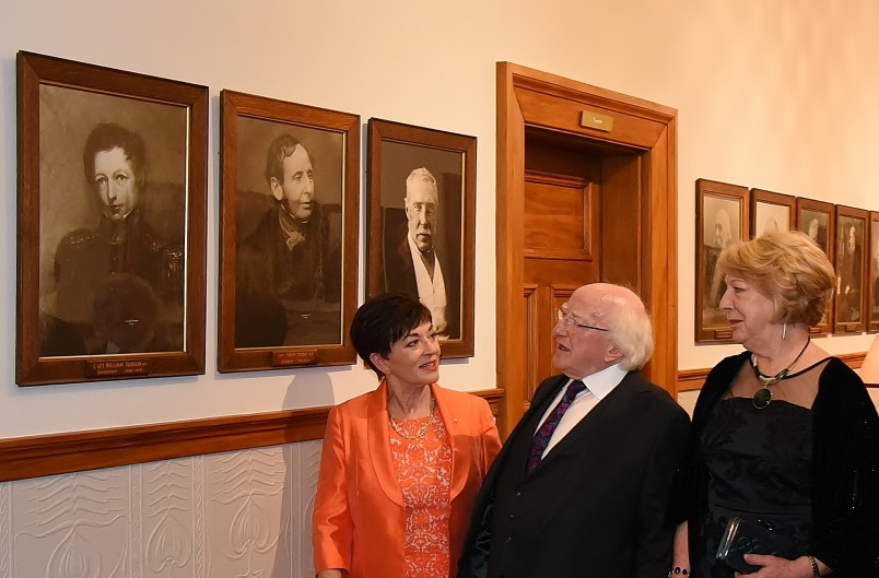 Image of Dame Patsy, Michael D. Higgins and Sabina Higgins viewing a portrait of Lt William Hobson, New Zealand's first Governor, who was born in Ireland.