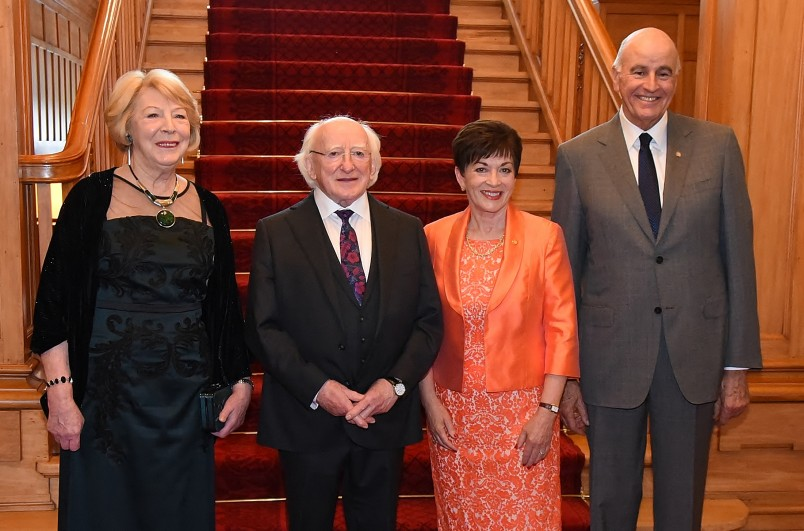 Image of Sabina Higgins; President of Ireland, Michael D. Higgins; Governor-General of New Zealand, Dame Patsy Reddy and Sir David Gascoigne
