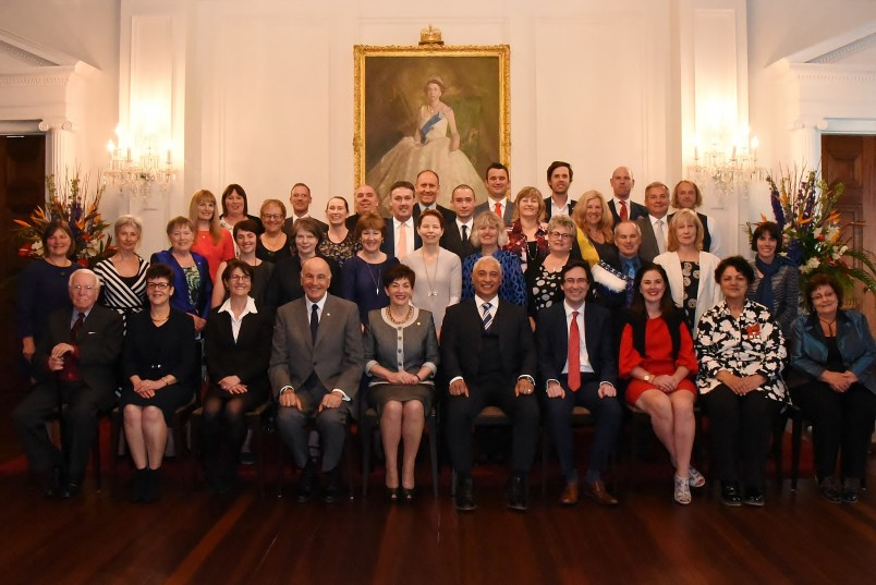 an image of Their Excellencies with Trustees and Fellows
