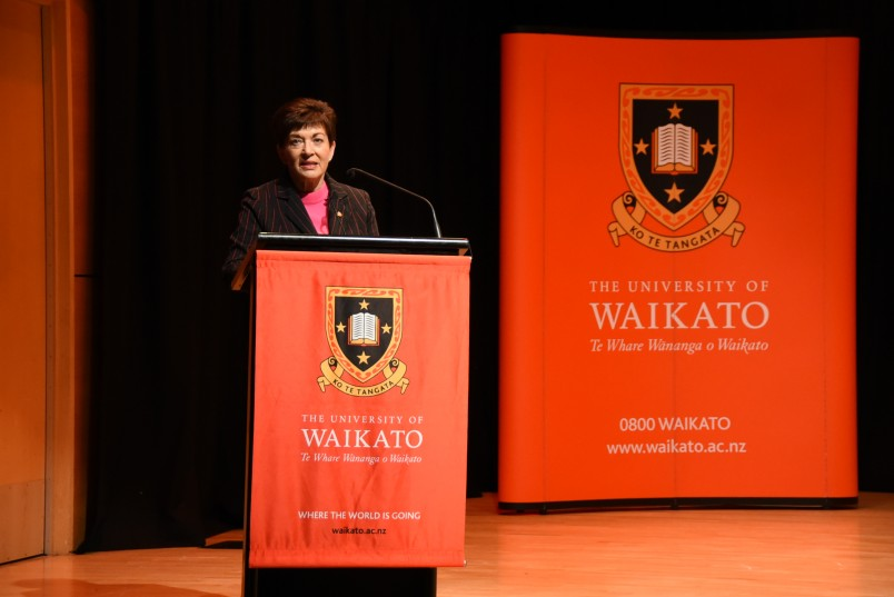 an image of Dame Patsy addressing the delegates