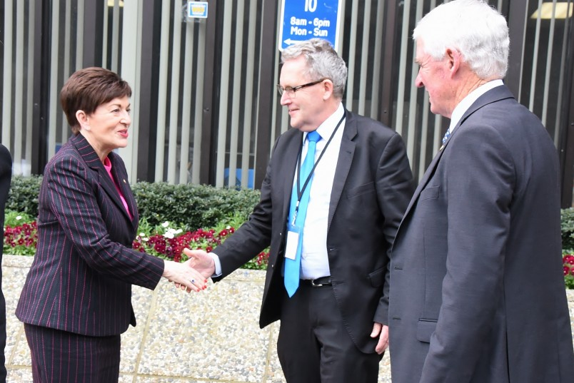 an image of Dame Patsy meeting Andrew King, Mayor of Hamilton and Alan Livingston, Chair of Waikato Regional Council