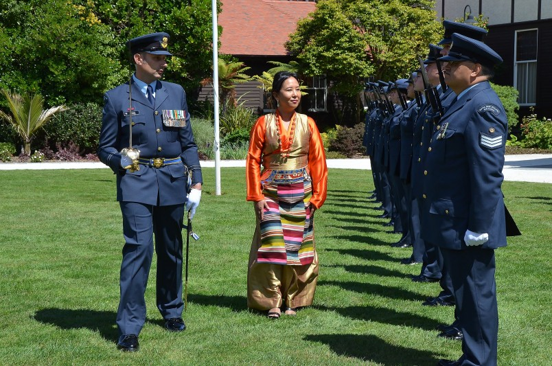 an image of Her Excellency Ms Lucky Sherpa, The Ambassador of Nepal and the Honour Guard