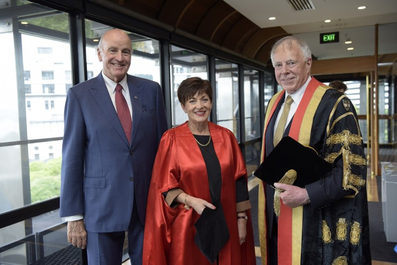 Image of Sir David, Dame Patsy and VUW Chancellor Sir Neville Jordan