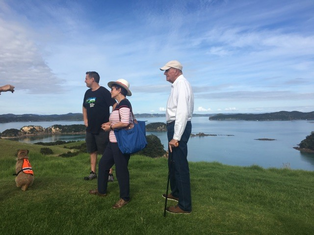 an image of Dame Patsy and Sir David on Urupukapuka Island
