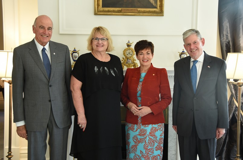 Image of Dame Patsy and Sir David with HE David Vogelsanger, Swiss Ambassador and Dr Jenny McMahon, National President of Red Cross New Zealand