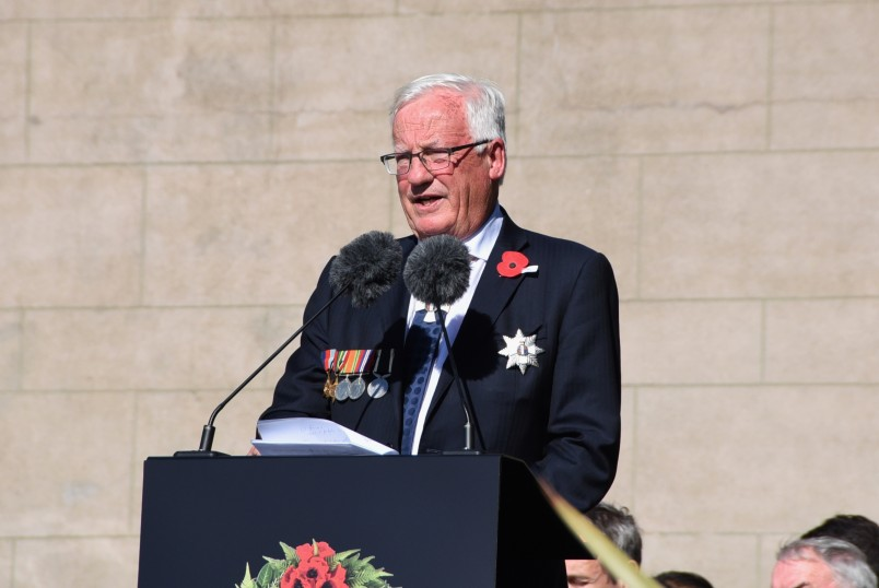 an image of The Hon Justice Sir William Young speaking at the service