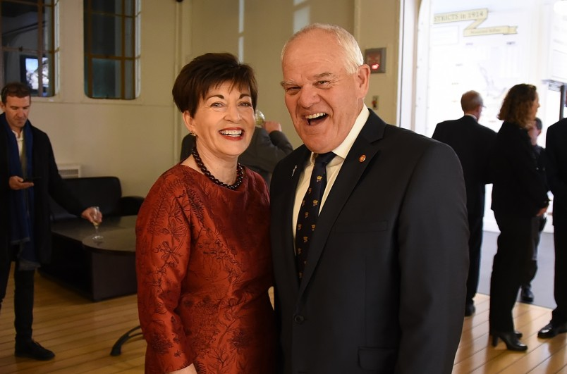 Image of Dame Patsy with Mark Hadlow, who plays Lt Col William Malone in the projected images used in the exhibit