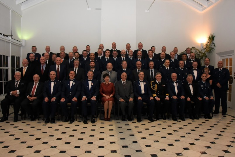 an image of Their Excellencies, Police Commissioner Mike Bush and Rear Admiral John Martin with past and present members