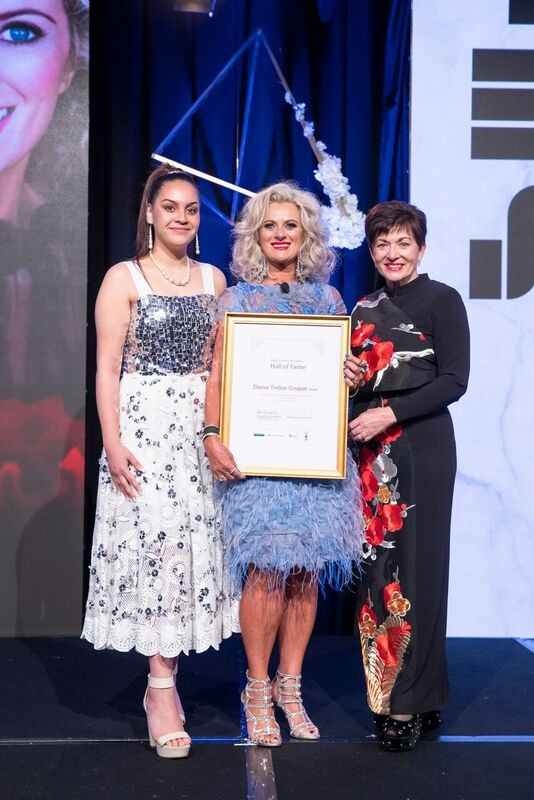 an image of Dame Patsy with Precorqtion Rawiri and inductee Dame Trelise Cooper