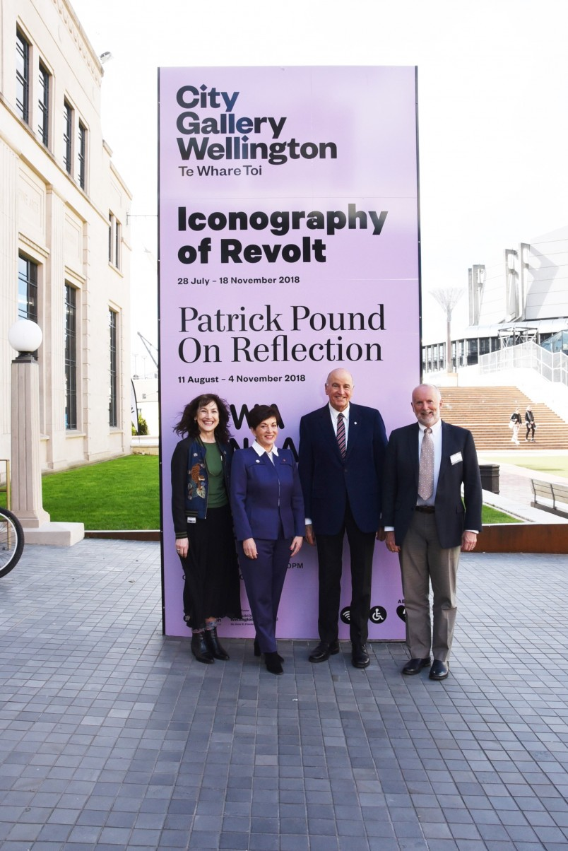 Image of Dame Patsy and Sir David  with Judge Arthur Tompkins, Chair of the NZ Art Crime Research Trust and Elizabeth Caldwell, Director, City Gallery