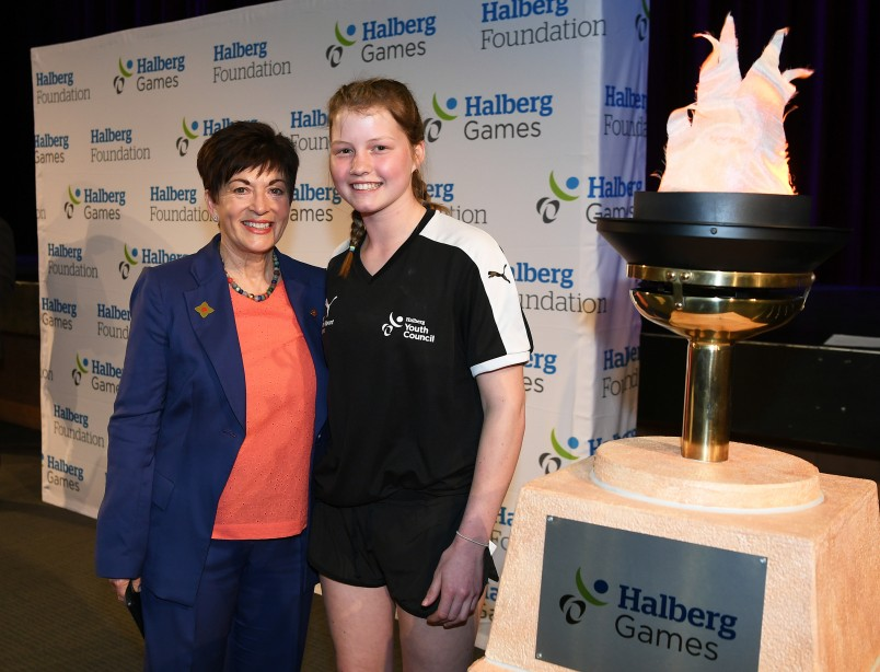 an image of -	Her Excellency, RT Hon Patsy Reddy and Halberg Youth Council member Victoria Baldwin officially opening the Games at the Halberg Games Opening Ceremony, King's College Auckland