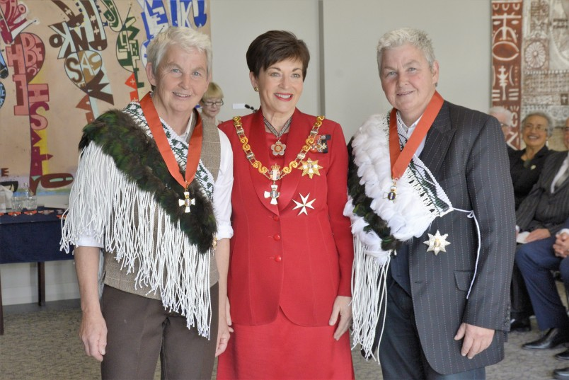 Image of Dane Patsy with Dame Jools Topp and Dame Lynda Topp