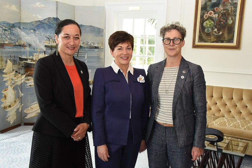 Image of Dame Patsy with Acting CE of the Ministry For Women, Helen Potiki and Suffrage 125 Project Manager, Kim Young