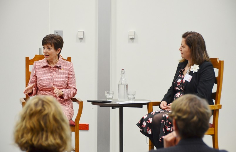 Image of Dame Patsy partcipating in a Q and A about leadership