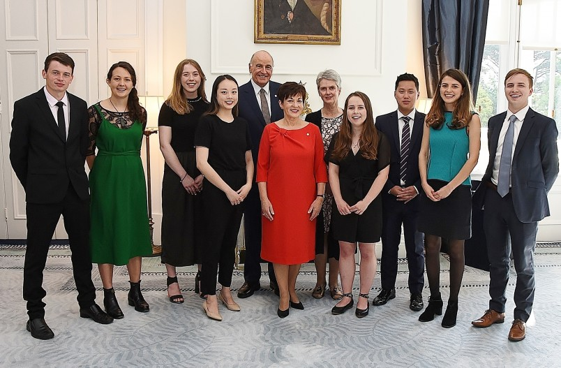 Image of Dame Patsy and the 2018 Rhodes Scholar finalists