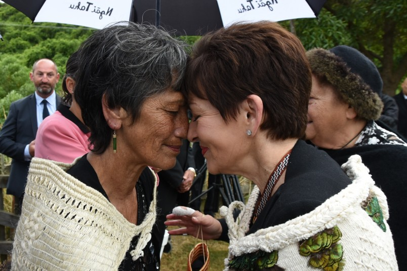 Image of a hongi with kuia Karen Morgan
