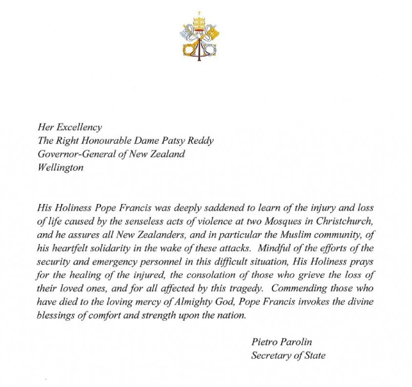 Snapshot of a message from Pope Francis