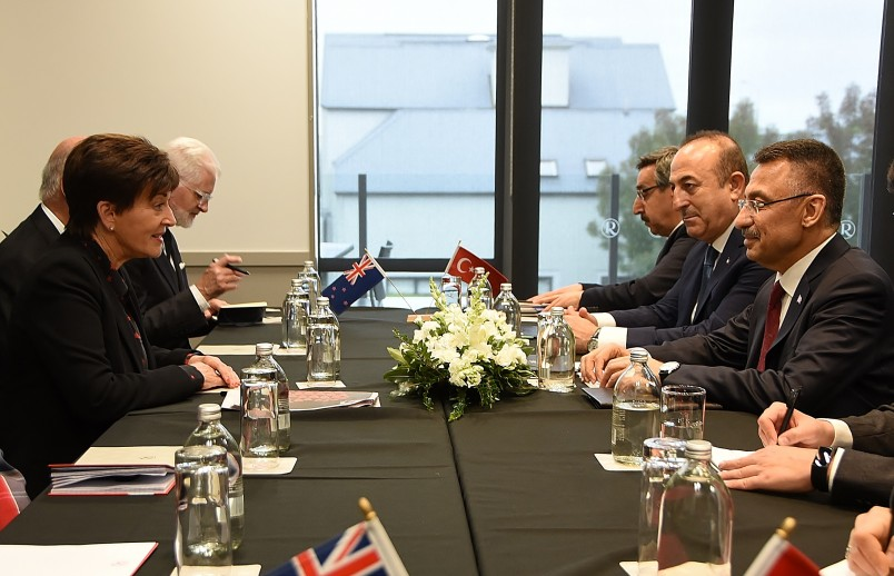 Image of Dame Patsy leading discussions with the Vice President of the Republic of Turkey, HE Fuat Oktay and Turkish Foreign Minister, Mevlüt Çavuşoğlu