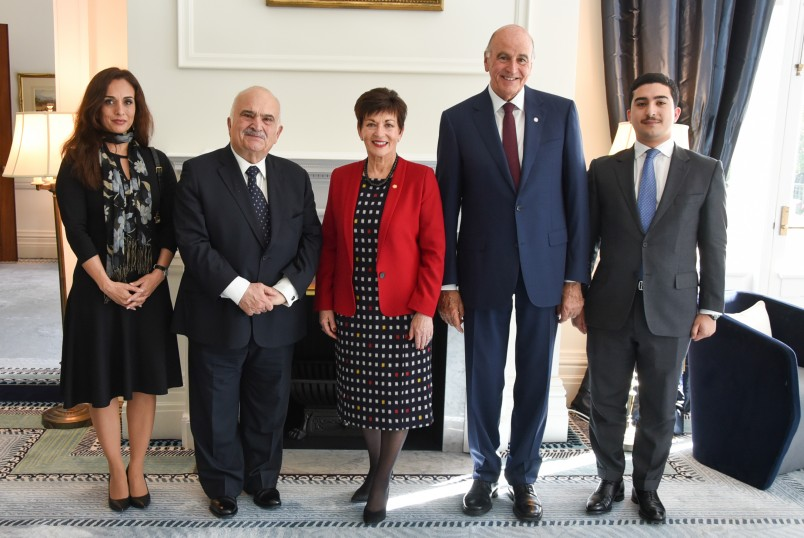 Image of Dame Patsy and Sir David with HRH Prince El Hassan bin Talal of Jordan, his daughter HRH Princess Rahma bint El Hassan and grandson HE Tariq Masser Judeh