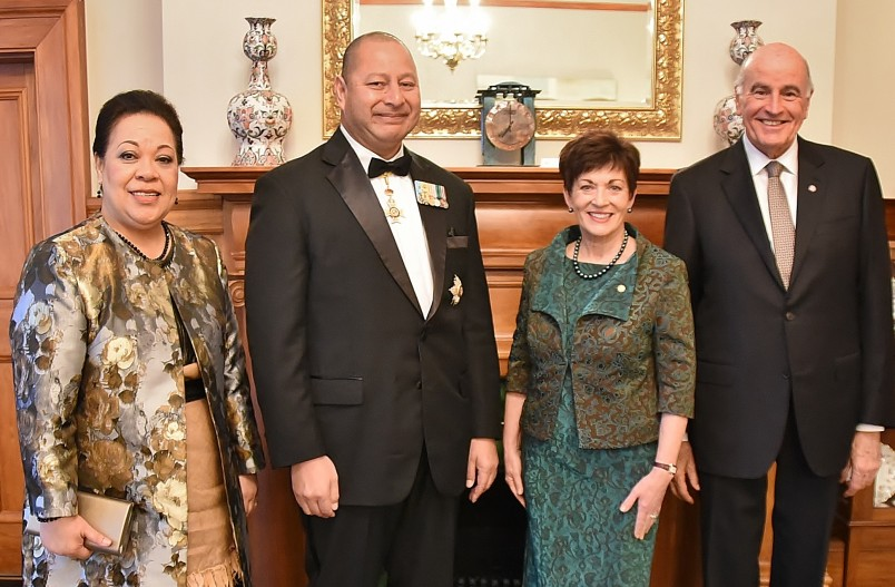 IMage of Dame Patsy and Sir David with His Majesty King Tupou VI of the Kingdom of Tonga and Her Majesty Queen Nanasipau'u