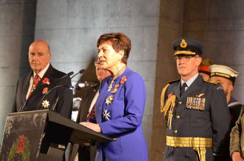 Image of Dame Patsy speaking at the Anzac Day Dawn Service