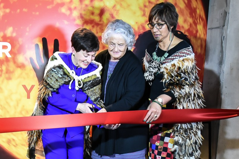 Image of Dame Patsy  cutting the ribbon with Auntie Reita Matthews and Aunty Suzy Waaka.