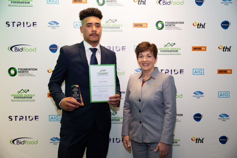 Dame Patsy with Dontae Marino Winner of MYND Youth Achievement award