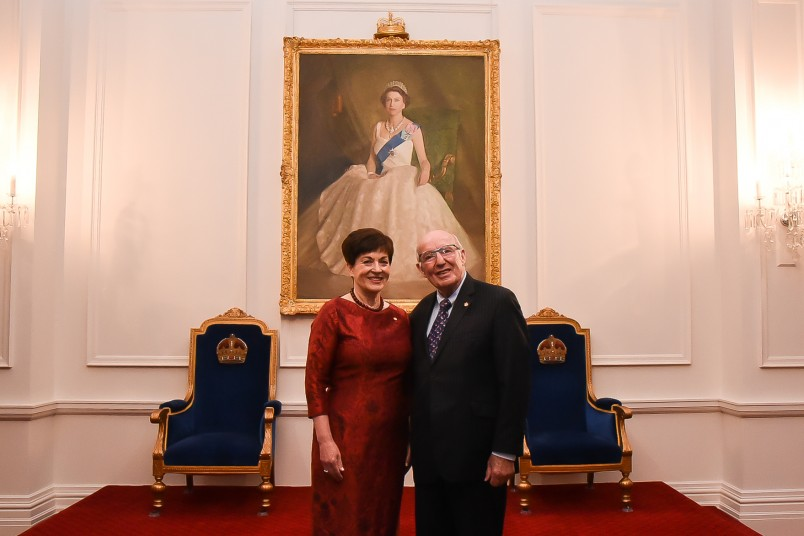 Image of Dame Patsy and Crimestoppers inaugural chairman John Perham