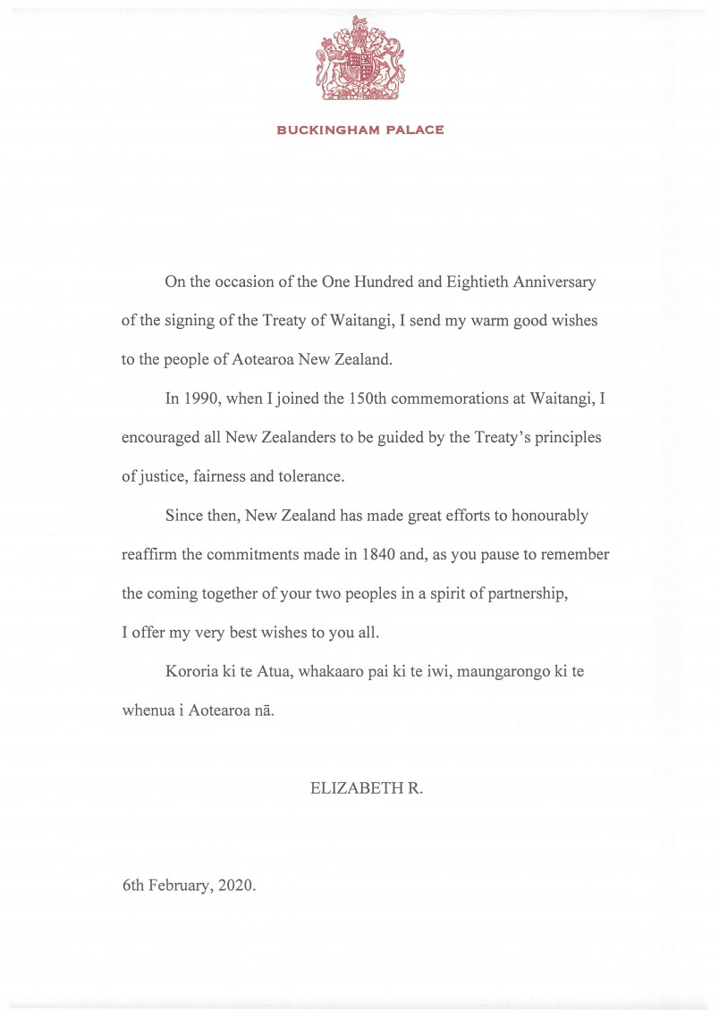 Image of the Waitangi Day 2020 message from HM Queen Elizabeth