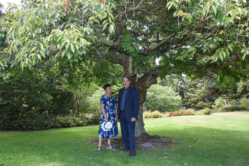 Dame Patsy and Sir Jonathon Porritt with a tree planted by his father, Governor-General Sir Arthur Porritt