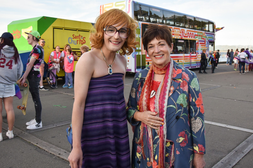 Governor General Dame Patsy Reddy with one of the hosts of Wellington International Pride Parade