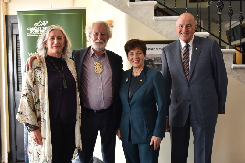 Dame Patsy and Sir David with Sir Graeme Dingle and Jo-anne Wilkinson, Lady Dingle