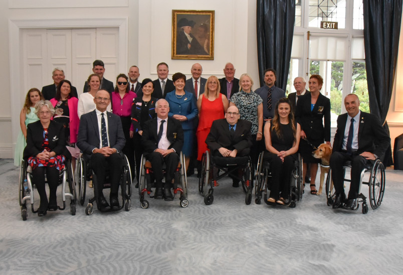 Group photo of all the Paralympians and those representing Paralympians honoured this evening