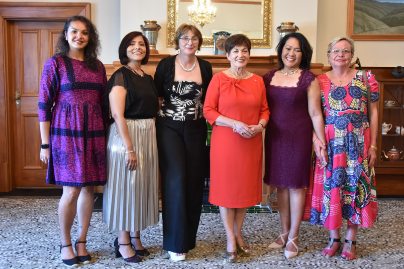 Image of Dame Patsy with Philippa Wells, Helen Corrigan, Irene Corpuz, Arzoo Sayeddah, Ayesha Ratanpal from Dress for Success