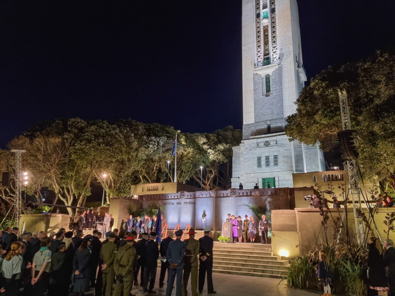 The official party lines up at Pukeahu