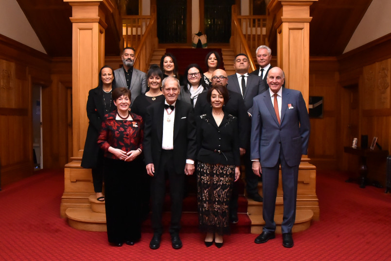 Dame Patsy and Sir David with Sir Mason Durie, ONZ and guests