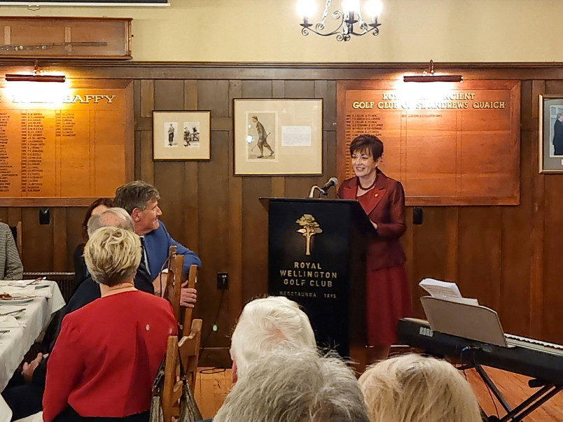 Dame Patsy speaking at the Royal Wellington Golf Club