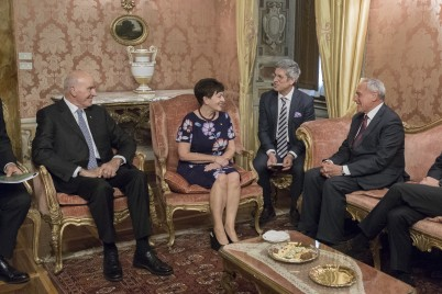 Image of Dame Patsy and Sir David with HE Pietro Grasso, President of the Italian Senate, at the Palazzo Giusitiniani in Rome.