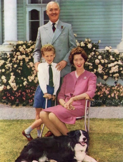 An image of the family of Sir Bernard Fergusson, Lady Laura Fergusson and son Geordie at Government House in Wellington in the early 1960s